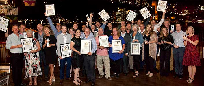 Jubilant award winners celebrate after receiving their gongs in Sydney
