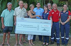 RFDS reps and park staff at the cheque handover