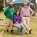 Tingha Gems Caravan Park managers and caretakers Craig and Rebel Bright, left, with Northern Tablelands MP Adam Marshall