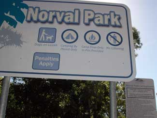 Norval Park beach sign