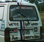 Wicked campervan with suggestive slogan